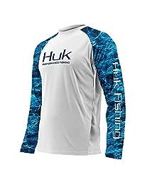 Huk Subphantis Double Header Vented Long Sleeve Shirt, White/SubPhantis Glacier, Large