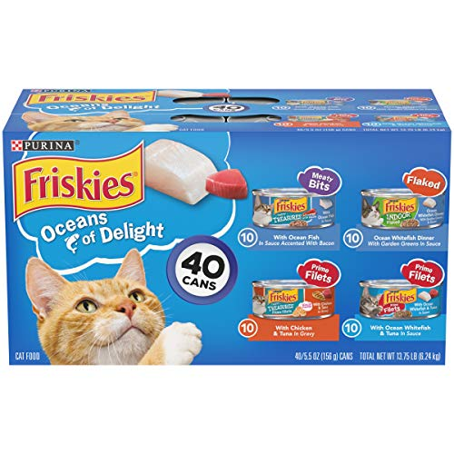 Purina Friskies Wet Cat Food Variety Pack, Oceans of Delight Meaty Bits, Flaked & Prime Filets – (40) 5.5 oz. Cans
