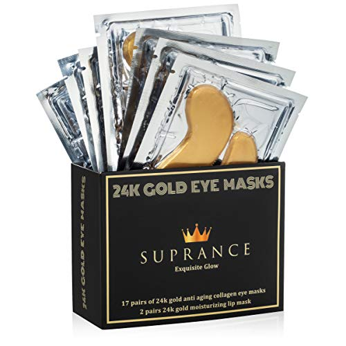 All Natural 24K Gold Eye Masks with Collagen by Suprance – Under Eye Patches with Hyaluronic Acid– Dark Circles Under Eye Treatment – Eye Mask for Puffy Eyes - Anti-Wrinkle – 17 Pairs