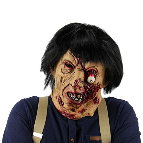 Horrific Demon Bloody Mask Fork Costume Horror Head and Neck Mask Cosplay Mask Zombie Halloween -