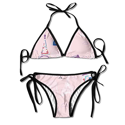 KinForYboby Eiffel Tower Paris Pink Women's Sport Beach Surfing Swimwear - Directions Tower Place Water