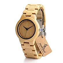 BOBO BIRD L28 Women's Bamboo Wooden Watch With Full Wood Links Japanese Quartz Movement