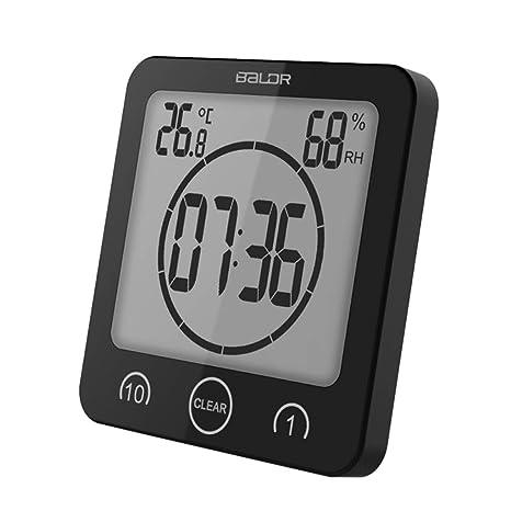 Besttse - Reloj de Pared Digital con Pantalla LCD y termómetro, higrómetro, Alarma y