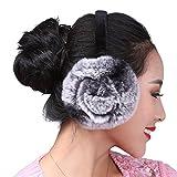 SPRINGWIND Women's Rex Rabbit Fur Earmuffs Winter Earwarmer