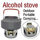Ecosin Portable Mini Adjustable flame Alcohol Stove Foldable handle Spirit Burner For Outdoor Hiking Camping