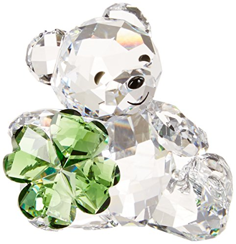 Swarovski Kris Bear Four Leaf Clover Crystal Figurine, Good Luck