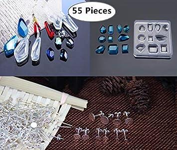5 unidades silicona moldes con 50 Piezas de plata tornillos de ojo de pescar de joyería ...