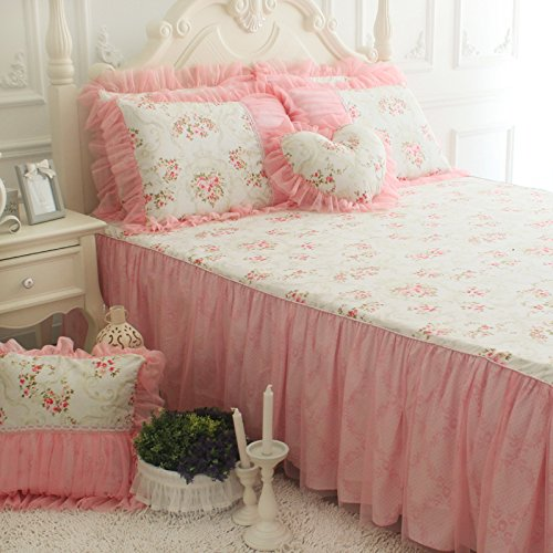 FADFAY Pink Rose Print Bedding Set Floral Bedding Set Romantic Korean Bedding Set Girls Princess Lace Ruffle Duvet Cover Bedding Set