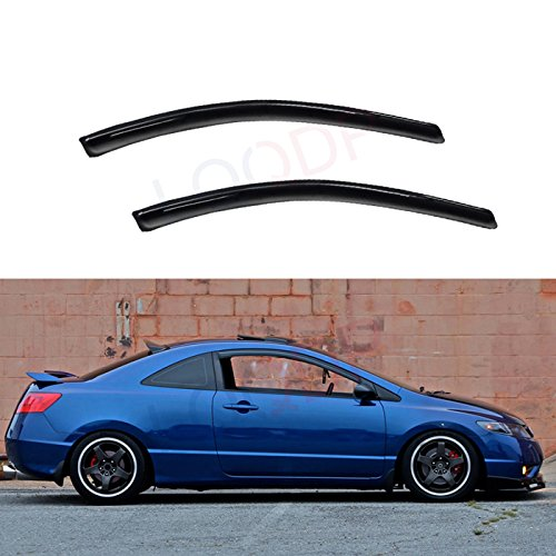 LQQDP 2pcs Front Doors JDM Smoke Sun/Rain Guard Outside Mount Tape-On Window Visors Fit 06-11 Honda Civic 2-Door Coupe