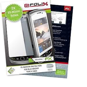 atFoliX Lámina protectora de pantalla FX-Mirror para Blackberry Torch 9800 (2 uds.) - Protector de pantalla con efecto espejo