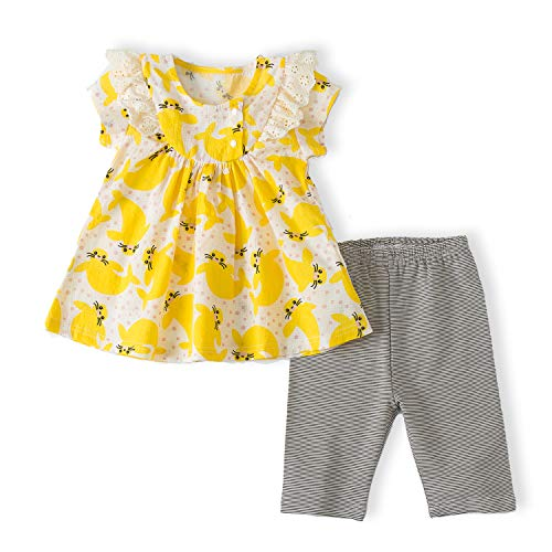 2pcs Toddler Summer Clothing Set Baby Onesie for 0-3 Months Girls Outfits Ruffle Dress+Baby Pants(100(12-18M), Yellow)