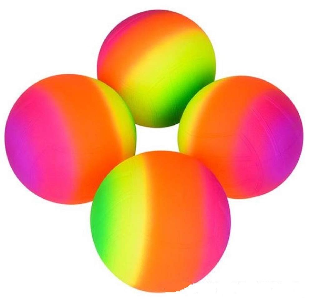 Backyards You Name it ! Afterthoughtri 6 Rainbow Sports Balls Pools BBQs 4 Pack Great for Indoor and Outdoor Fun