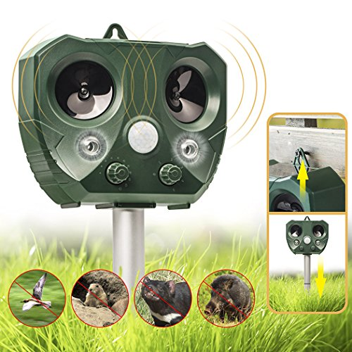 Besiva Ultrasonic Pest Repeller, Outdoor Animal Repellent, Solar Powered Waterproof Ultrasonic Pest Repellent for Dog, Cat, Bird, Squirrel, Mice, Rabbit, Vole, Raccoon, Fox, Rodent, etc