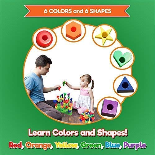 Peg Board Stacking Toddler Toys - Lacing Fine Motor Skills Montessori Toys for 2 3 4 5 Year Old Girls and Boys | Educational Matching Shapes Kids Toys with 36 Pegs, Activity eBook & Travel Backpack