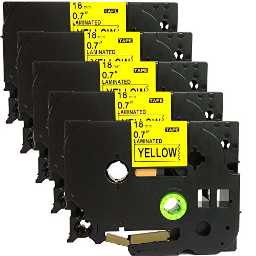 NEOUZA 5PK Compatible For Brother P-Touch Laminated TZe TZ Label Tape Cartridge 18mm x 8m (TZe-641 Black on Yellow)