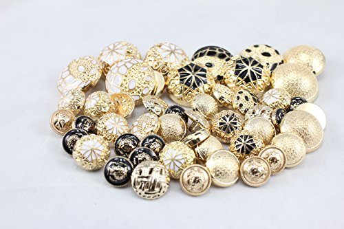 Vintage Gold Button (Gold Metal Cover Vintage Antique Buttons for Sewing and Crafts;assorted 50 Buttons Per Package)