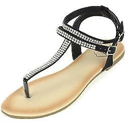 T-Strap Rhinestone Thong Sandals