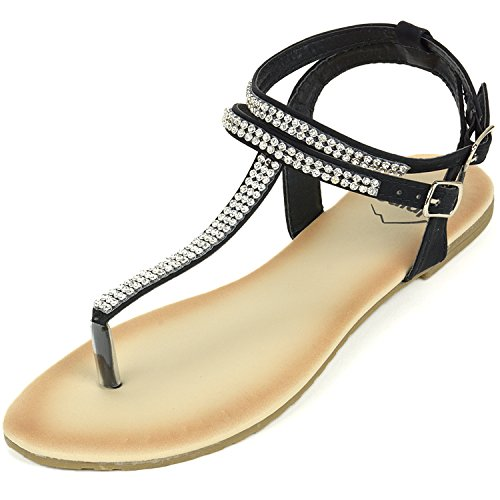 alpine swiss Womens Black Slingback T-Strap Rhinestone Thong Sandals 11 M US