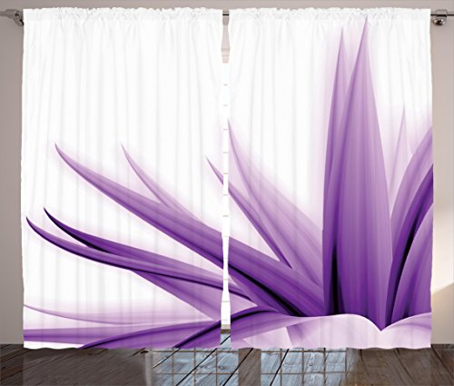"""Ambesonne Flower Curtains, Purple Ombre Style Long Leaves Water Colored Print with Calming Details Image, Living Room Bedroom Window Drapes 2 Panel Set, 108"""" X 84"""", Purple White"""