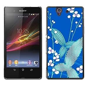 Sticks flor blanca y Paisaje Azul - Metal de aluminio y de plástico duro Caja del teléfono - Negro - Sony Xperia Z L36H