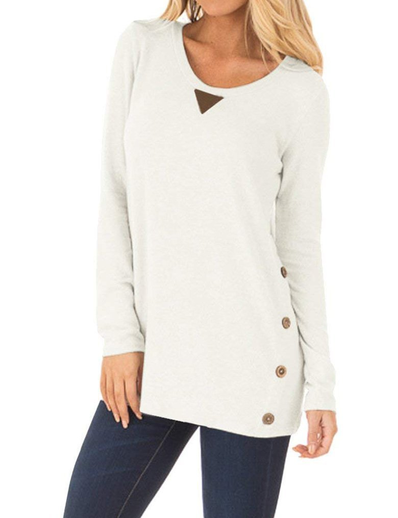 OURS Fall Clothes for Women Long Sleeve Patchwork Button Tops Henley Shirts White XXL