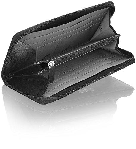 bugatti Mendoza XL Portafoglio Donna con scomparto zip pelle 19,5 cm Black