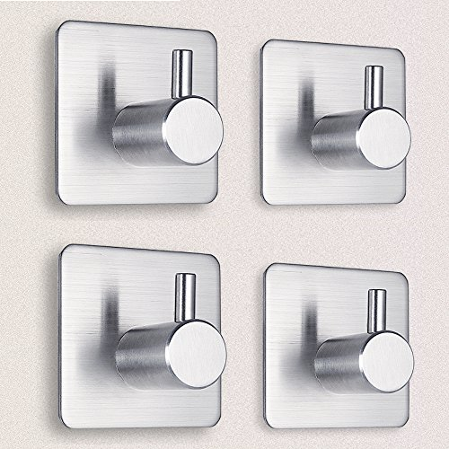 Adhesive Hooks, Heavy Duty Wall Hooks Waterproof Stainless Steel Hooks Wall Hanger Mounted Non-slip Hooks for Dog Leash, Umbrellas, Scarves,Towels, Robes, Bags, Coats, Keys -4 (Install Shower Wall Tile)