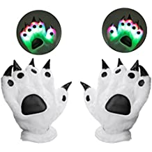Luwint Colorful Finger Flashing LED Light Gloves, Youth Adult Lights Up Bear Paw Claw Winter Gloves for Christmas Birthday Party Rave Show Cosplay (Gift Box Package)