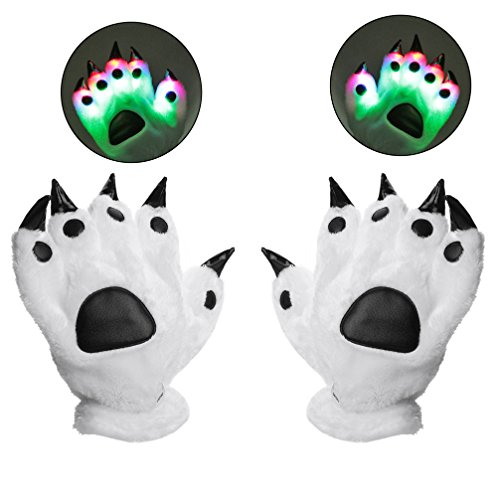 [Luwint LED Finger Lighting Gloves - Youth Adult Color Changing Flashing Panda Bear Wolf Paw for Party Cosplay Costume ( Gift Box & Greeting Card), 1] (Rave Monster Costume)