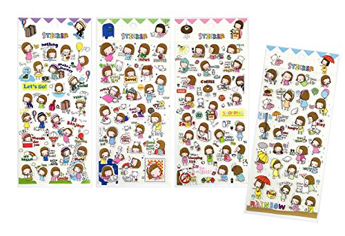 SET065-GIRL - 4 Different Sheets Happy Life Cute Lovely Girls Reusable Puffy Decorative Craft Scrapbooking Sticker Set for Diary, (Happy Halloween Water Bottle Labels)