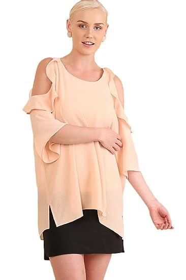 66da720234bd4f Umgee Women s Bohemian Cold Shoulder Ruffle Blouse Tunic Top Plus Size  (1X