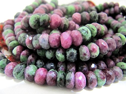 AAA Quality Natural Ruby Zoisite Beads Rubyzoisite Rondelle Faceted approx 6-7mm Beads Gemstones Israel Cut Rare Stone sold per STRAND 8 inches long