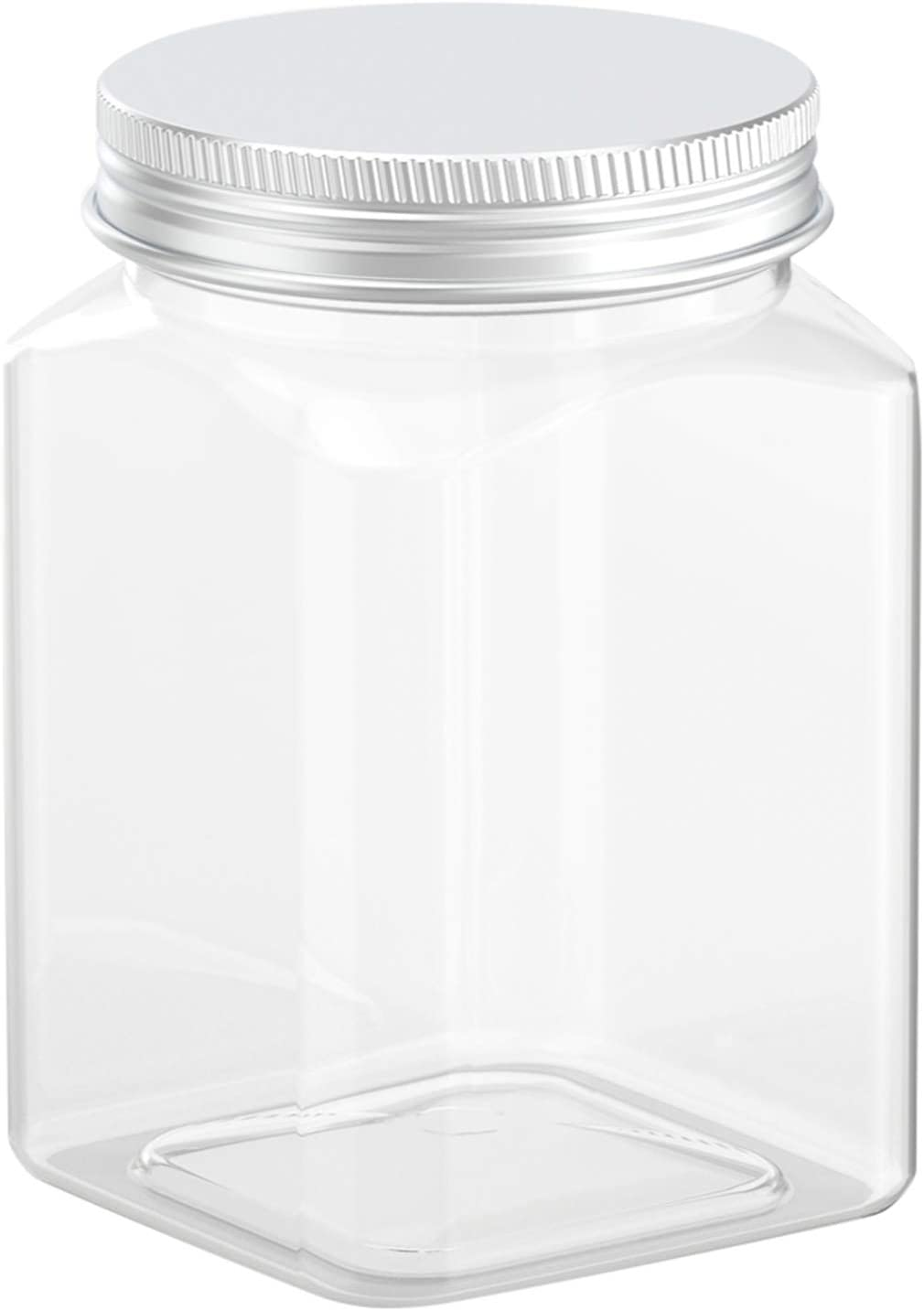 Axe Sickle 24 Ounce Clear Plastic Jars Storage Containers With Lids For Kitchen & Household Storage Airtight Container 6 PCS