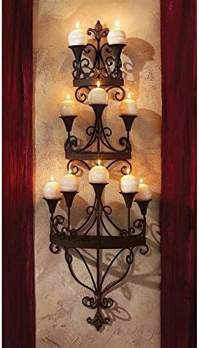Design Toscano Carbonne Candle Chandelier Wall Sconce, Black