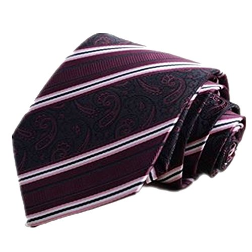 Fashion Men's Tie Clip Suit Joker Deep Purple Cashew Nuts Pattern Decorative Hunting Ground Bow Tie Set Necktie ()