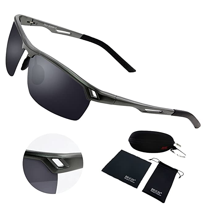 59ec7788f1 Duco Men s Sports Style Polarized Sunglasses Driver Glasses Metal Frame  8550 (Gunmetal Frame Gray Lens)  Amazon.in  Clothing   Accessories