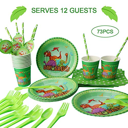 Dinosaur Birthday Party Supplies, Serves 12, Boys and Girls Dino Theme Party Set, Plates, Cups, Table Cover,Napkins,Straws, Spoons, Forks for Kids Birthday Party Favors
