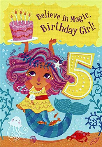 Designer Greetings Mermaid Believe in Magic Age 5 / 5th Birthday Card for Girl