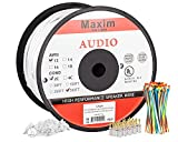 Maximm In Wall Speaker Wire - 500 Feet - 12AWG CL3 Rated 2-Conductor Wire - White , Pure Copper - Banana plugs, Cable clips and ties Included