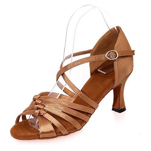 Mujer De Zapatos Con Para Cuba Satén Zapatillas Sandalias Brown L Artificial Salón Cuero yc color waxRxX