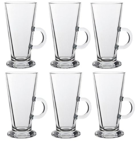 LATTE GLASS TEA COFFEE CUP MUG (Fits Tassimo & Dolce Gusto) Size Large SET of 6 EVER RICH