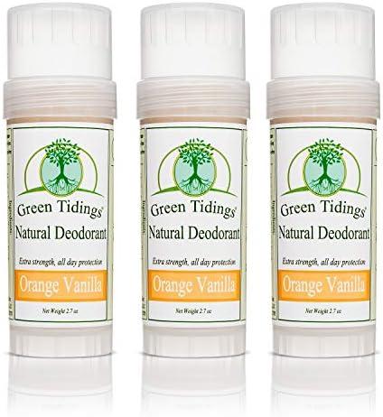 Green Tidings Natural Deodorant – Orange Vanilla 2.7 oz. 3 Pack – Extra Strength, All Day Protection – Vegan – Cruelty-Free – Aluminum Free – Paraben Free – Non-Toxic – Solid Lotion Bar Tube