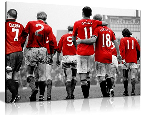 Manchester United Legends Football Canvas Wall Art Picture Print (30x20in) - Manchester Living Room