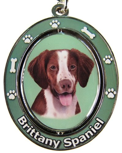"Brittany Spaniel Key Chain ""Spinning Pet Key Chains""Double Sided Spinning Center With Brittany Spaniels Face Made Of Heavy Quality Metal Unique Stylish Brittany Spaniel Gifts"