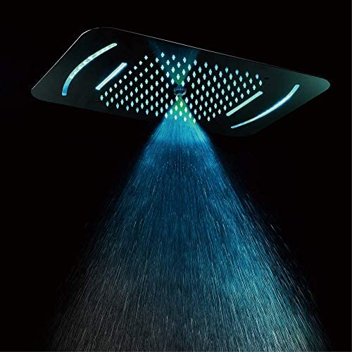 SISHUINIANHUA Duschset, 580x380 mm LED-Thermostat-Duschsystem für den Einbau, 3-Funktions-Duschkopf, Fernbedienung, Chrom