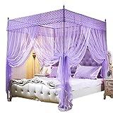 Mengersi Princess Bed Canopy Mosquito Net (Queen, Purple)