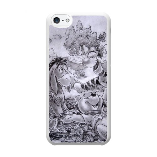 Coque,Coque iphone 5C Case Coque, Cute Winnie The Pooh Cover For Coque iphone 5C Cell Phone Case Cover blanc