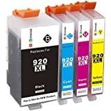 GPC Image 4 Pack Compatible Ink Cartridge Replacement for HP 920XL 920 XL High Yield for HP Officejet 6000 6500 6500A Plus 7000 7500 7500A E709A E710A (1 Black, 1 Cyan, 1 Magenta, 1 Yellow)