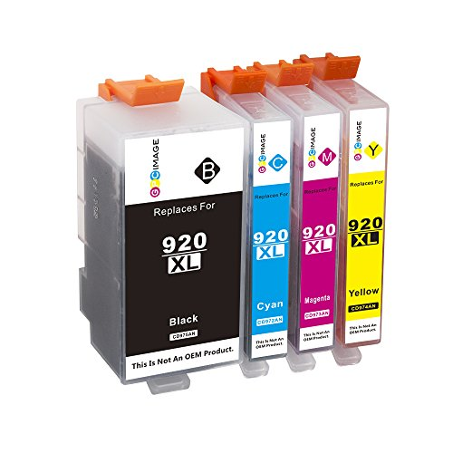 GPC Image 4 Pack Compatible Ink Cartridge Replacement for HP 920XL 920 XL High Yield for HP Officejet 6000 6500 6500A Plus 7000 7500 7500A E709A E710A (1 Black, 1 Cyan, 1 Magenta, 1 (7500 Cyan Toner)