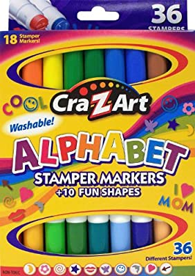 Cra-Z-art Double-Ended Stamper Markers, Alphabet and Shapes, 18-Count (10030-24)